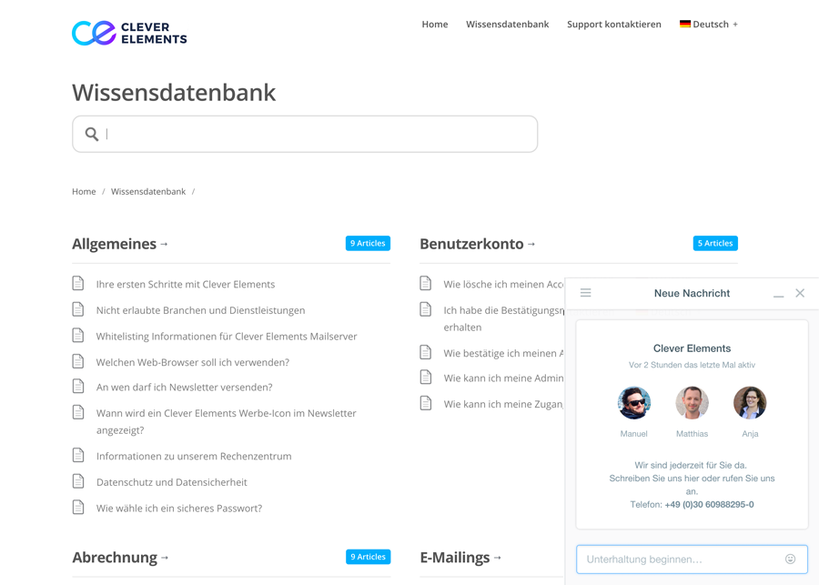 Wissensdatenbank - Screenshots der CleverElements Software